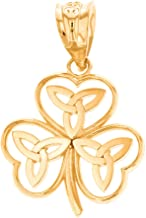 Claddagh Gold Dainty 10k Yellow Gold Irish Shamrock Pendant with Celtic Trinity Knot