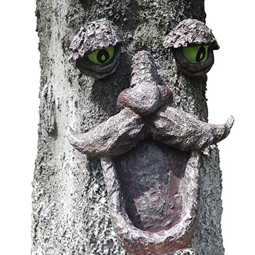 Cutfouwe Baumgesichts-Dekoration, Baumgesicht Schläfrig,Leuchtende Augen Im Dunkeln, Lustiger Alter Mann, Baumskulptur, Gartendekoration,baumgesicht
