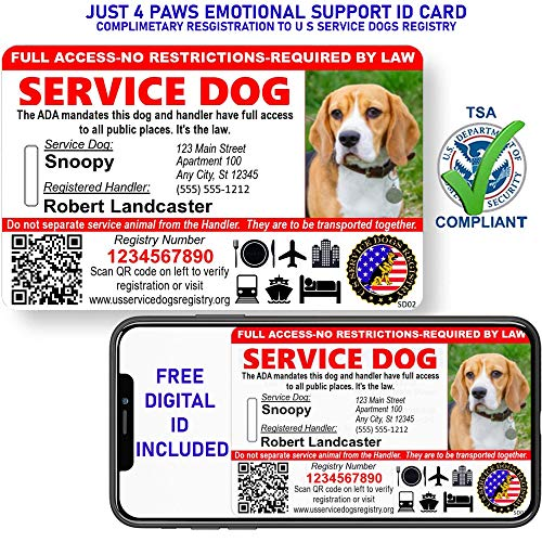Custom Holographic QR Code Service Dog ID Card with Registration to Service Dogs Registry with Strap - Landscape Style (Service Dog Photo ID)