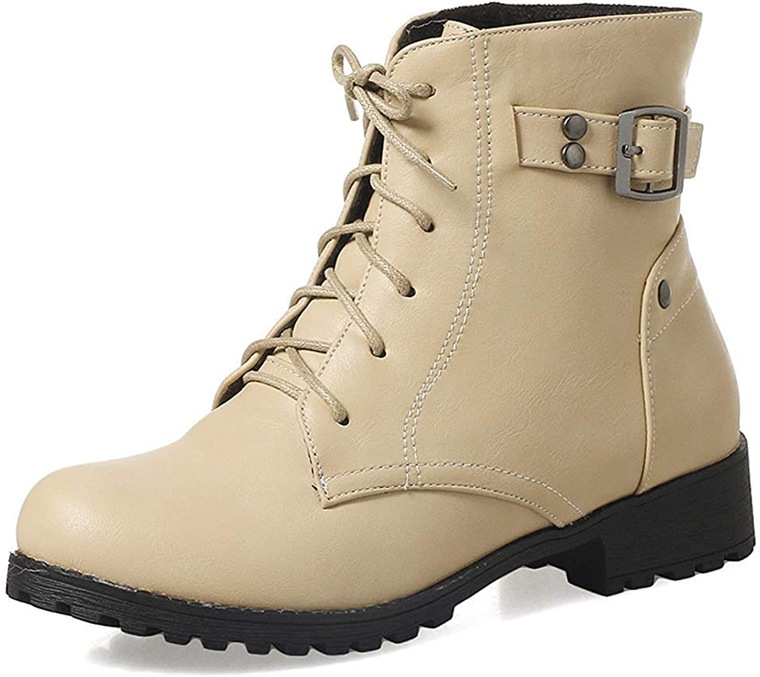 Gedigits Women's Stylish Studded Buckle Strap Ankle Booties Round Toe Low Heel Lace-up Short Martin Boots Beige 5 M US