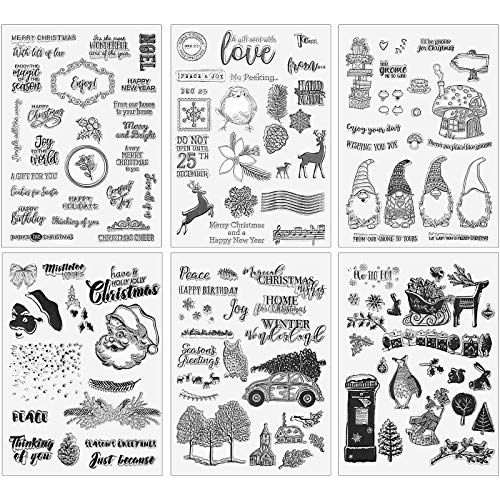 8.46 x 6.3 Inches Christmas Theme Clear Stamps Silicone Stamp Cards for Making Decorative Scrapbook Photo Album Supplies