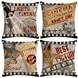 ULOVE LOVE YOURSELF 4pack Vintage Cinema Poster Pillow Covers Movie...