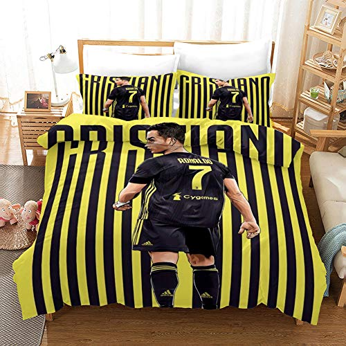 3D Duvet Covers Yellow Black Stripes No. 7 Player Double Microfiber Quilt Cover Bedding Set With Pillocases 3 Pcs Bedding Set 55 X 78.7 inch