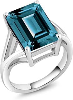 Gem Stone King 925 Sterling Silver London Blue Topaz Women's Solitaire Ring (7.10 Ct Emerald Cut, Gemstone Birthstone (Available 5,6,7,8,9)