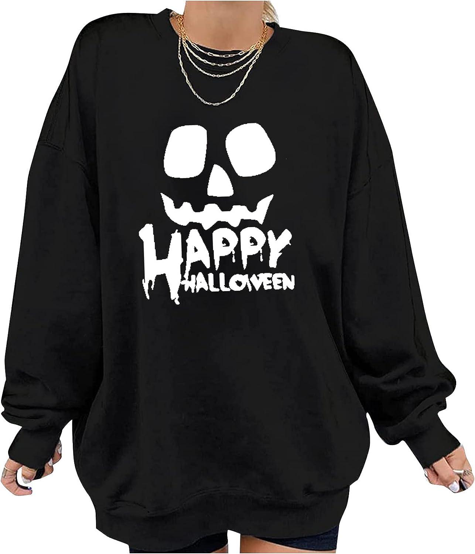 Halloween Shirts for Women,Halloween Sweatshirts Long Sleeve Fashion Tops Crewnec Comfort Blouses Pullover Sweaters