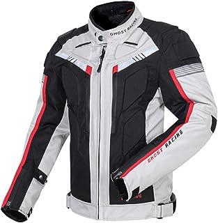 バイク用 メンズ ジャケット オールシーズン通用 プロテクター付き 保護力 防水 防寒 防風 通気性 2色 (白, L)