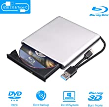 External Blu Ray DVD Drive 3D, USB 3.0 and Type-C Bluray CD DVD Reader Slim Optical..
