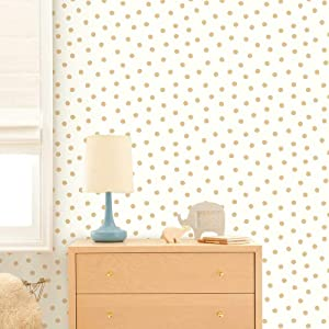 RoomMates RMK3524WP Metallic Gold Dots Repositionable and Removable Peel and Stick Wallpaper, 20.5