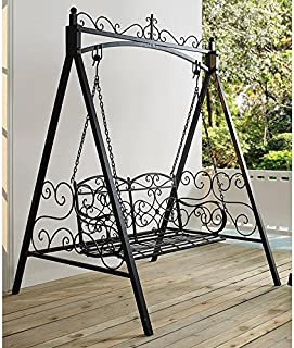 Classic And Sturdy All Metal Outdoor Porch Swing With Armrest and Stand In Black finish
