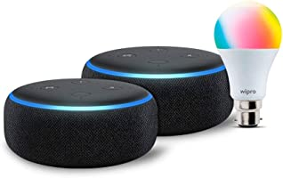 Echo Dot (3rd Gen, Black) gift twin pack with Wipro 9W LED smart Bulb