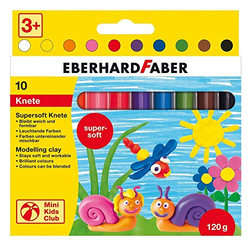 Eberhard Faber 572110 - Mini Kids Club Supersoft Knete, 10 Stangen im Kartonetui