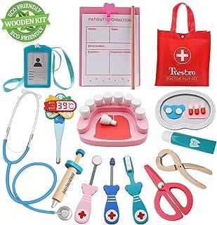 کیت پزشک Tresbro برای کودکان ، اسباب بازی های ابزار دندانپزشکی چوبی برای کودکان نوپا ، پسران و دختران 3 سال به بالا ، Pretend بازی پزشک پزشکی مجموعه با استتوسکوپی واقع گرایانه که باعث ارتقاء مهارت های تفکر و آموزش می شود