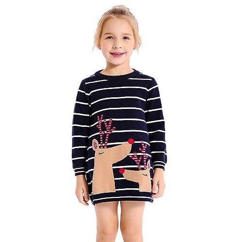 cbb909ba7e SMILING PINKER Little Girls Christmas Dress Reindeer Snowflake Xmas Gifts  Winter Knit Sweater Dresses