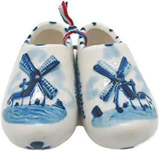 Essence of Europe Gifts E.H.G Delft Shoe Pair with Embossed Windmill Design (2.75