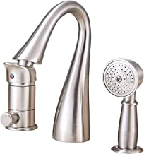 Saeuwtowy Brass Bathtub Faucet/Tap Waterfall 3 Holes Shower and Bathtub Faucet Brushed Nickel Bathtub Faucet Set Single Kn...