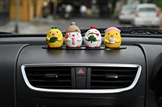 Motozoop ® Car Dashboard Toys (Cute Chicks 4pcs) + Anti-Slip pad/Mat for Car Decor/Office Table Decor/Home Decor, Car Interior Accessories.