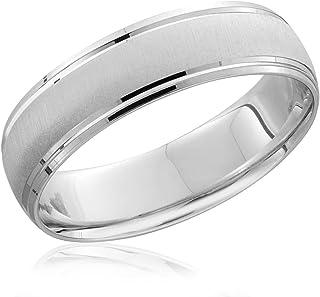 حلقه باند عروسی برس مردانه 950 پلاتین 6 میلی متر
