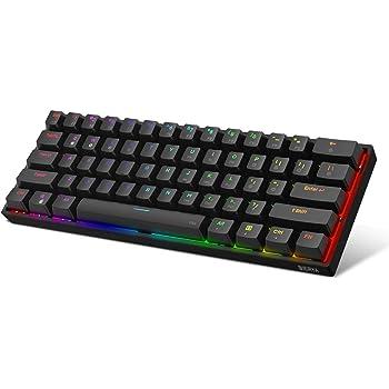 DIERYA DK61E 60% Mechanical Gaming Keyboard, RGB Backlit Wired PBT Keycap Waterproof Type-C Mini Compact 61 Keys Computer Keyboard with Full Keys Programmable (Gateron Optical Blue Switch)