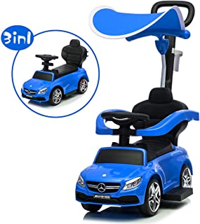 Little Brown Box 3 in 1 Licensed Mercedes Benz AMG Kids Ride on Push Car for Toddler, Baby Push Car W/ Canopy, Parent Handle, Storage, Guardrail, Music & Horn, Kids Indoor/Outdoor Car Stroller (Blue)