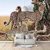 Moderna pegatinas Leopardo animal Oficina Fotomurales Fondo Pantalla 3D Autoadhesivo lienzo Papel tapiz cartel aplique pared Papel arte Pared por Cuarto Salón Decoración (450x300cm)