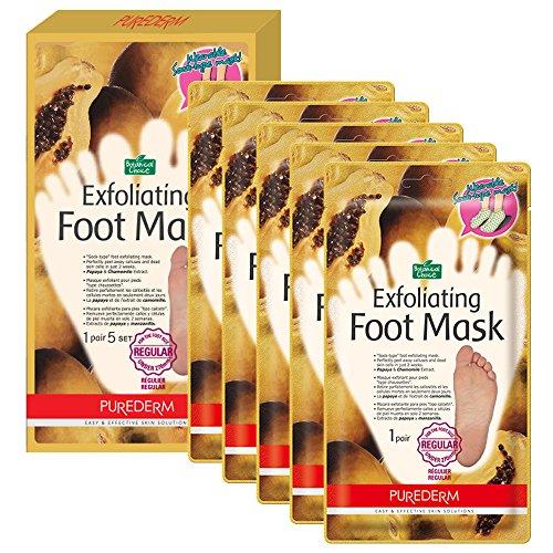 Purederm Exfoliating Foot Mask - Peels Away Calluses and Dead Skin in 2 Weeks! (5 Pack (5 Treatments), Regular)