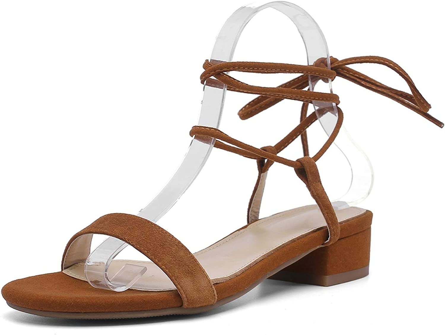 Pretty-Shop sandals Women Sandal Square High Heel Kid Suede Square Open-Toed Lace Up,