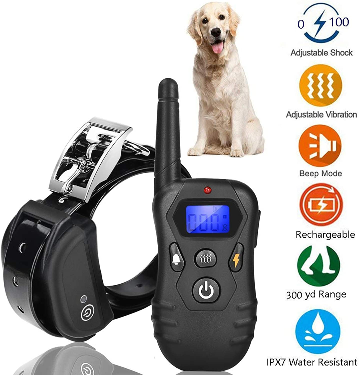 M3M Remote Dog Bark Control with 300 Yards Rechargeable and 100% Waterproof 1100 Level Suitable of Dogs(2018 Updated Version)