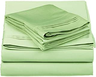 Zorifi Craft 4 Piece Bed Sheet Set 100% Egyptian Cotton Long Staple Cotton Bedsheet and Pillow Cover,Sateen Finish,Soft,Breadthable Deep Pocket up to 21-Inch Sage King 450 Thread Count