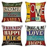 HZDHCLH 4er Set Kissenbezug kissenhülle 45 x 45 cm aus Baumwolle und Leinen Kissenbezüge für Sofa Gartenbett Outdoor Sofakissen Wohnzimmer (Haus & Love)