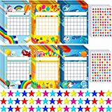 Incentive Chart Colorful Rainbow Space Theme Party Incentive Pad and 1760 Colorful Star Stickers for Classroom Teaching or Family Using (74 Pieces)
