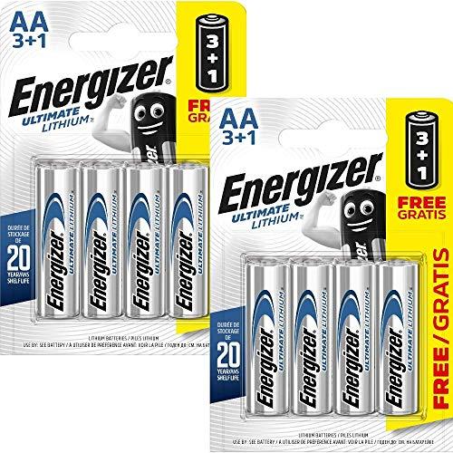 All Trade Direct 8 x Energizer AA al Litio batterie per Fotocamere digitali lr6 l91 Long Life di scadenza 2025
