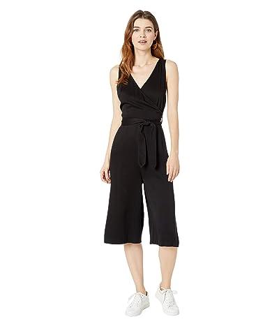 bobi Los Angeles Black Rayon Twill Crop Wrap Jumpsuit (Black) Women