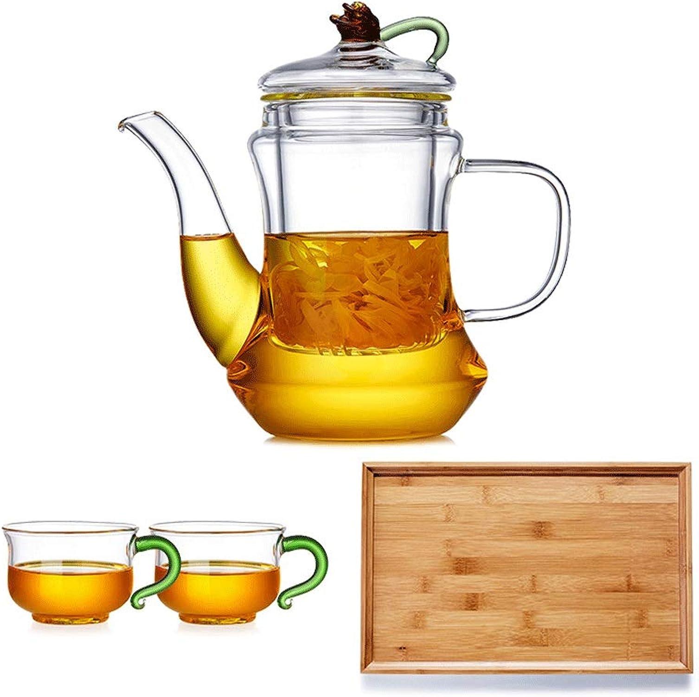 Ensemble de thé en verre élégant théière ménage épaississeHommest théière résistant à la chaleur est livré avec filtre bureau tasse de cérémonie du thé avec plateau de thé Bouilloire (Style   B)