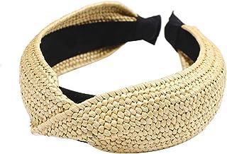 Bodhi2000 - Cerchietto per capelli da donna, in paglia per spiaggia, con nodo incrociato, accessorio per capelli