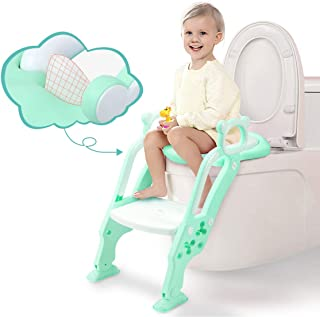 GrowthPic おまる トイレトレーナー 補助便座 オマル 折りたたみ 尿もれカバー付き トイレ用 取外し可能 子供用 踏み台 ステップ式 トイレトレーニング (グリーン)
