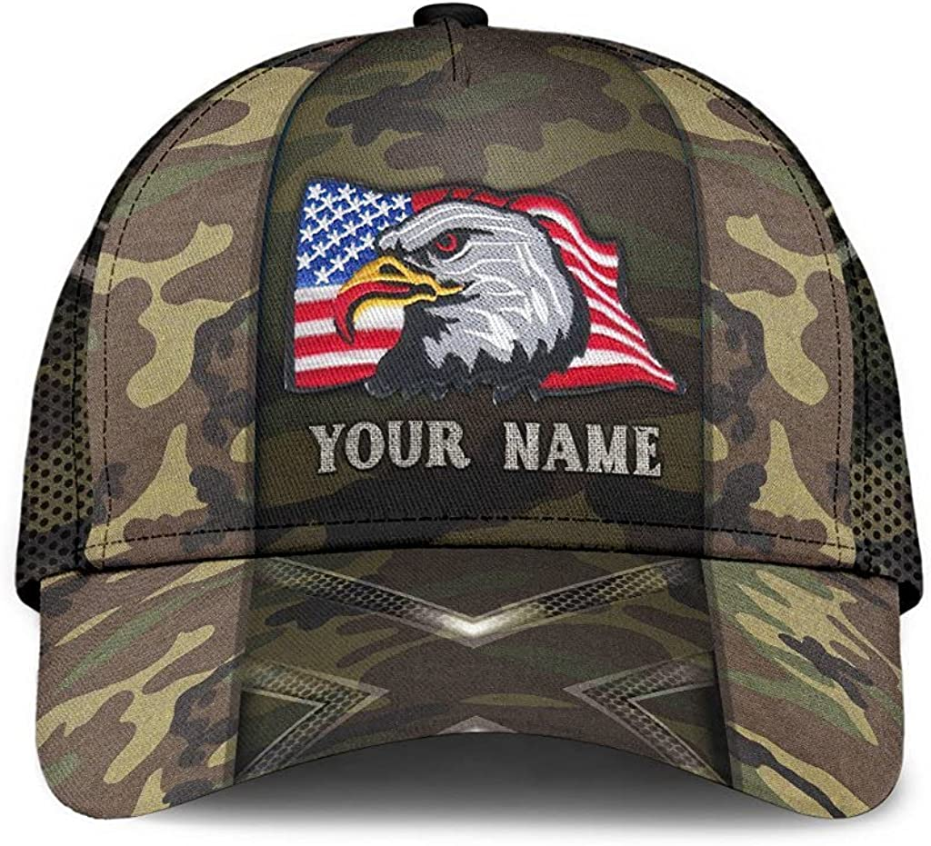 Customized Name 3D Printed Cap Hat Cl Online limited product Eagle American Camo Max 65% OFF Custom
