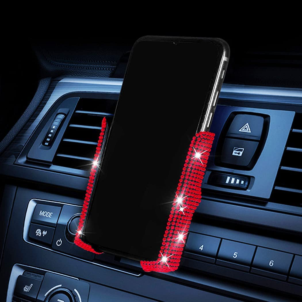 Bling Phone Holder for Car,SUNCARACCL Mini Car Dash Air Vent Car Phone Holder Universal 360°Adjustable Crystal Auto Car Stand Phone Holder Car Accessories for Women and Girls