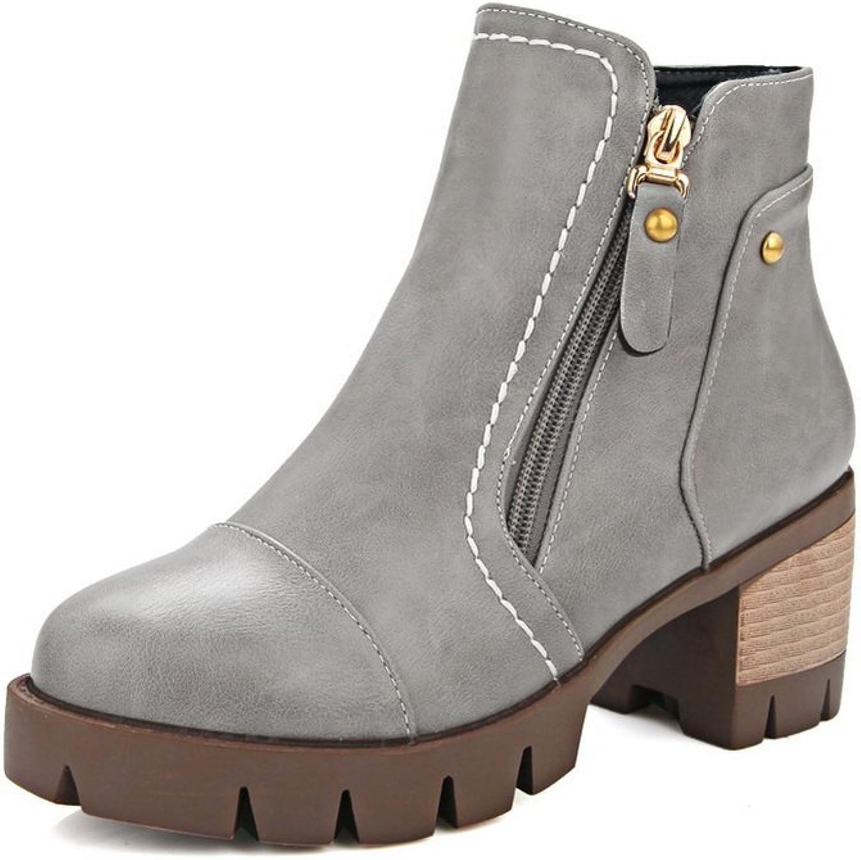 AdeeSu Girls Platform Kitten-Heels Business Imitated Leather Boots