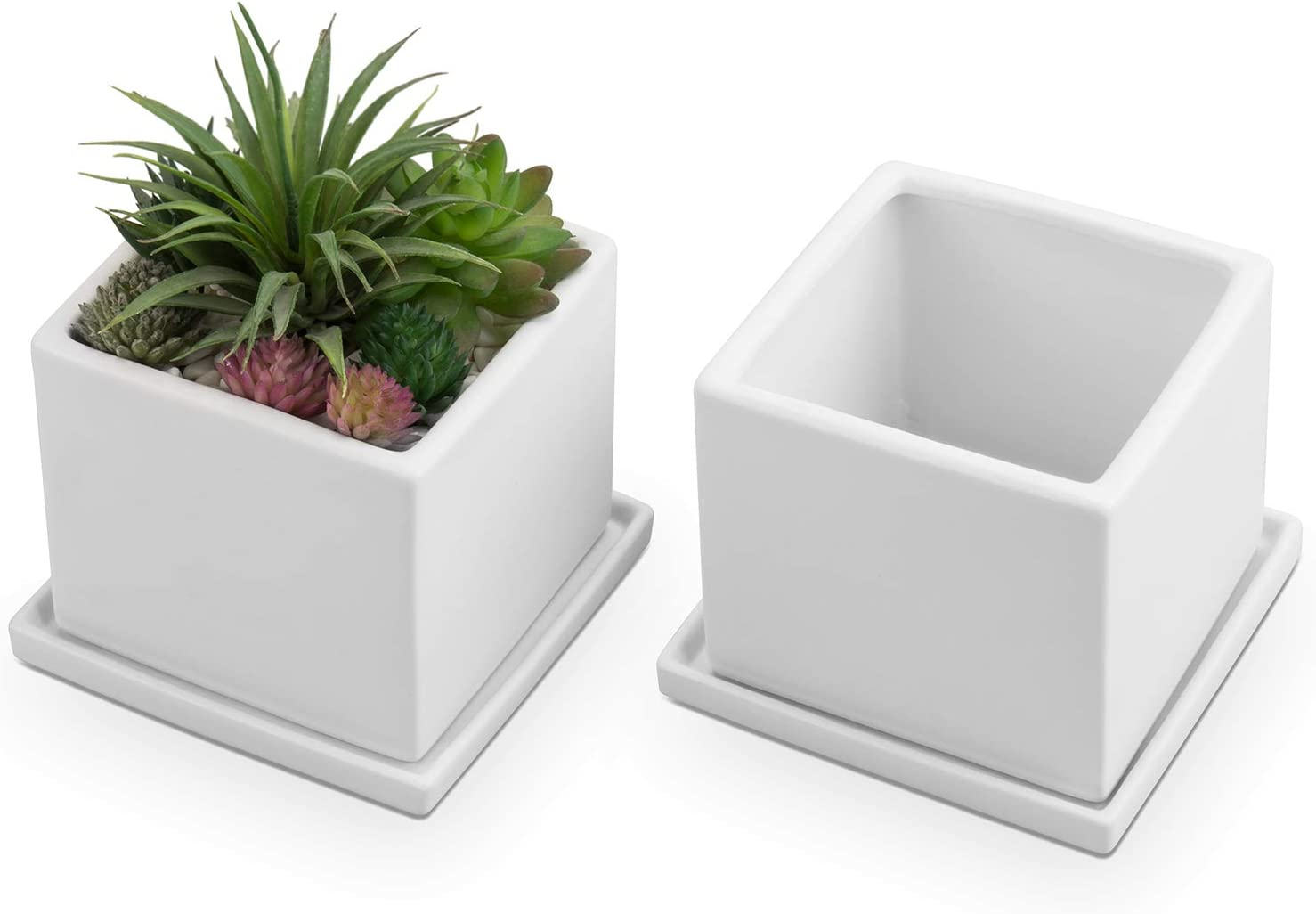 MyGift Matte Ranking TOP17 Special price White Square Ceramic with Planters Removab Matching