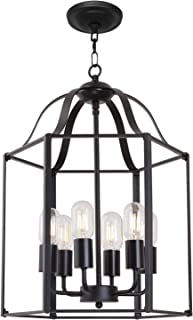 TULUCE 6 Light Modern Farmhouse Foyer Pendant Light Black Retro Industrial Style Cage Chandeliers,Adjustable Height Vintage Hanging Cage Ceiling Lighting Fixtures for Kitchen Dining Room Bar Cafe