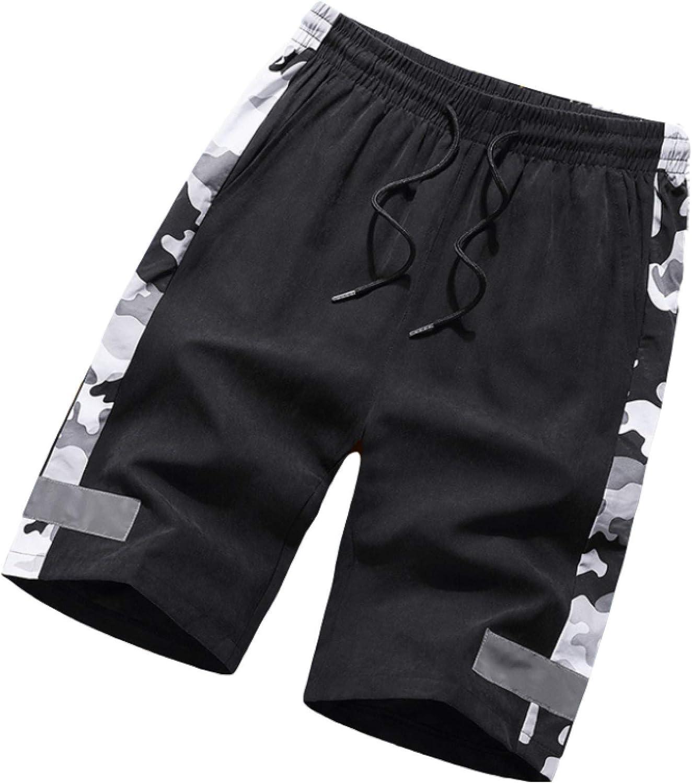 Jubaton Men's Summer Elastic Waist Drawstring Shorts Trend Loose Large Size Side XL Camouflage Black