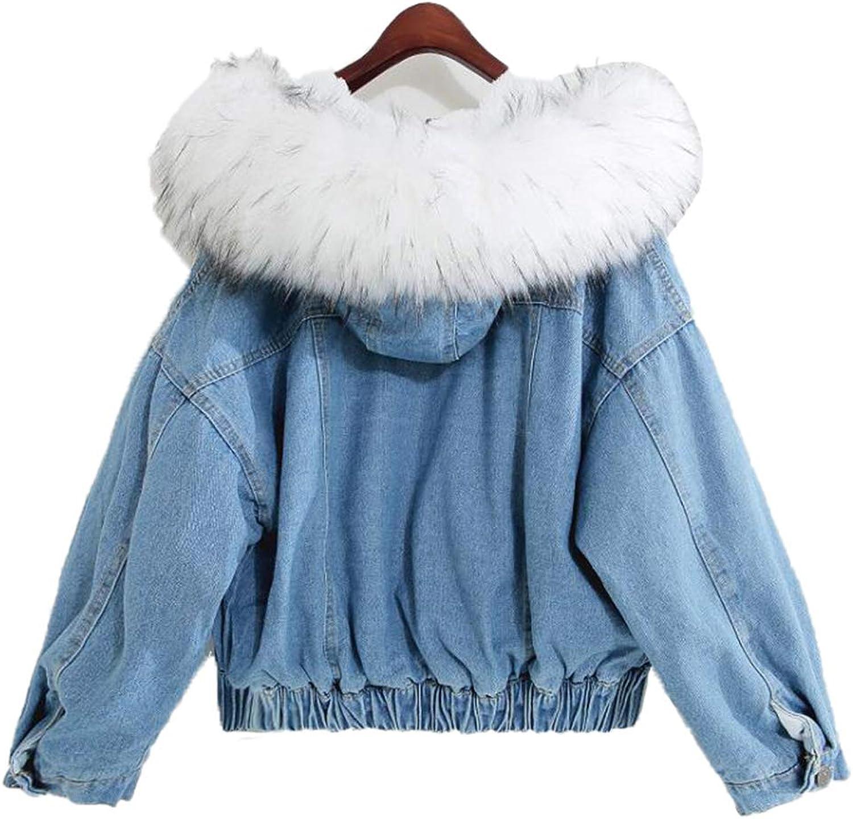 Saborz Women's Denim Jacket Big Faux Fur Collar Winter Wool Liner Jeans Coat