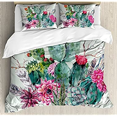 Ambesonne Cactus Decor Duvet Cover Set Queen Size, Spring Garden with Boho Style Bouquet of Thorny Plants Blooms Arrows Feathers, Decorative 3 Piece Bedding Set with 2 Pillow Shams, Multicolor