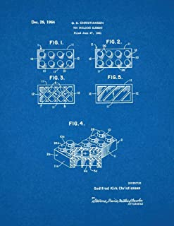 Lego Toy Building Block Element Patent Print Blueprint (8.5
