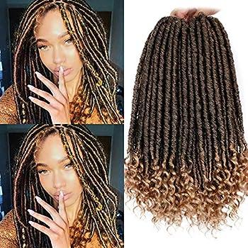 6Pcs/Lot Crochet Faux Locs Straight Curly Ends 16 Inch Short Goddess Locs Crochet Hair Goddess Braids Crochet Hair Extensions  1B-27#