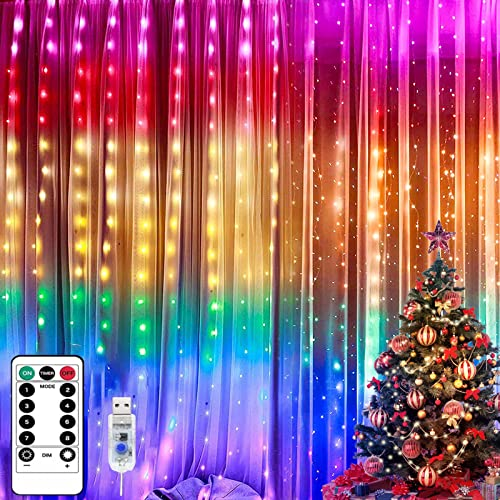 Luces de Cadena de Cortina 1 pack Sendowtek 3m x 3m 300 Cortina Led Interior Guirnaldas Luminosas con USB Decoración para Navidad Casa Habitación Bodas ( Multicolor )