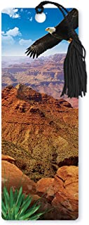 Dimension 9 3D Lenticular Bookmark with Tassel, Arizona Grand Canyon National Park Featuring Soaring American Bald Eagle (LBM071)