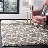 Safavieh Hudson Shag Collection SGH280B Moroccan Ogee Plush Area Rug, 3' x 5', Grey/Ivory