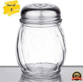 MM Foodservice Set of 3 Swirl Glass Cheese Shaker with Stainless Steel Perforated Lid (6-Ounce)