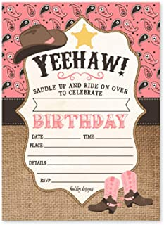 25 Pink Cowgirl Kids Birthday or Slumber Party Invitations, Girl Sleepover Rodeo Horse Themed Invites, Bandana Children or Toddlers Bday Theme Printable Supplies, Printed or Fill in The Blank Cards